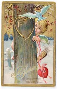 Cupid Cherub Gilt Valentine Powell Powls Valley PA Doane DPO