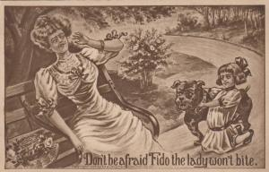 COMIC; 1909; Girl holding Bull dog, Don't be afraid Fido the lady won't bite.