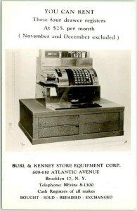 BROOKLYN, New York Advertising RPPC Photo Postcard BURL & KENNEY STORE EQUIPMENT