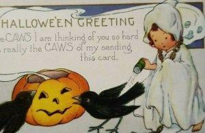 Vintage Halloween Postcard Whitney Ghost Girl Seasoning Black Crows Unused Orig