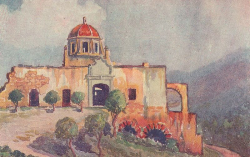 El Obispado Monterrey Mexico Old Painting Mexican Postcard