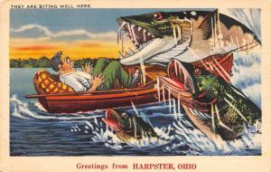 They Are Biting Well at Harpster Ohio~Exaggerated Fish Attack Man in Boat~1940
