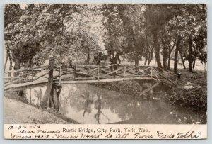 York Nebraska~City Park~Rustic Bridge~Trees Reflect in Creek~1906 B&W Postcard
