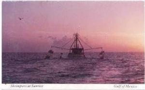 Shrip Boats at sunrise, Gulf of Mexico, 40-60s