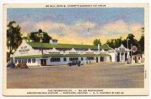 Kentland IN Drive-In Restaurant Sinclair Gas Station Old Cars Postcard