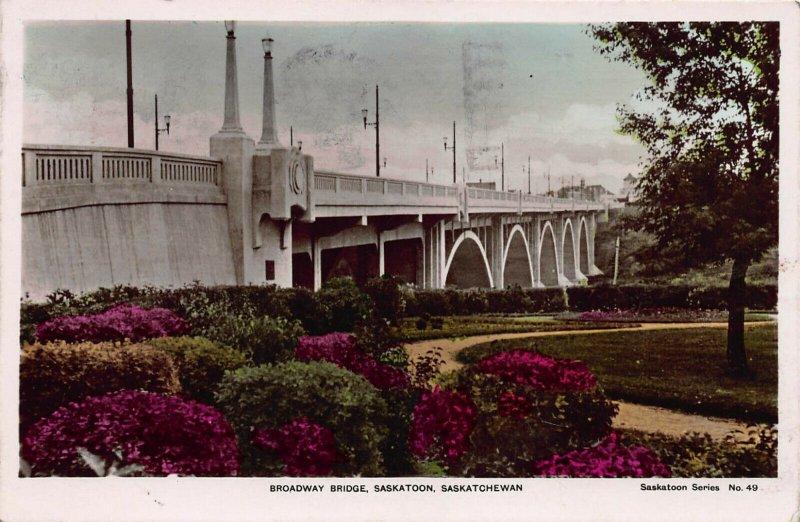 Broadway Bridge, Saskatoon, Saskatchewan, Canada, early postcard, Used in 1941