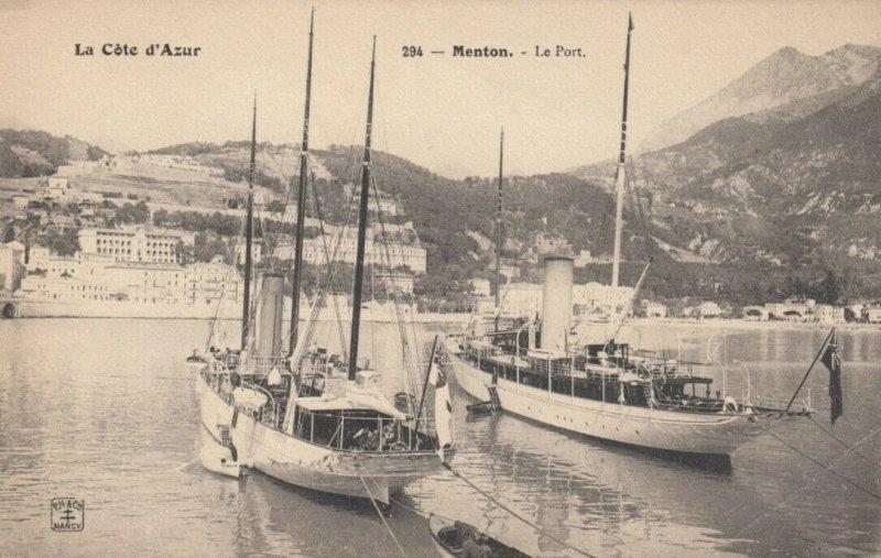 MENTON , France , 1900-10s; Le Port, La Cote d'Azur, Boats