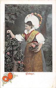 Europe Ethnic  woman  ,Flower hat, picking flowers