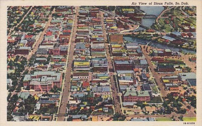 South Dakota Sioux Falls Aerial View Curteich / HipPostcard