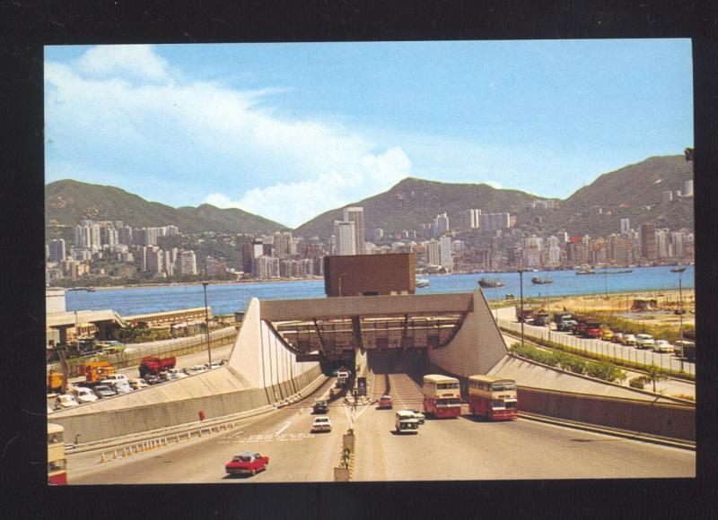 HONG KONG TO KOWLOON CHINA HARBOR TUNNEL OLD CARS CHINESE POSTCARD