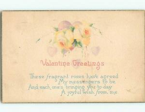 Pre-Linen valentine BEAUTIFUL YELLOW ROSE FLOWERS WITH HEARTS k5795
