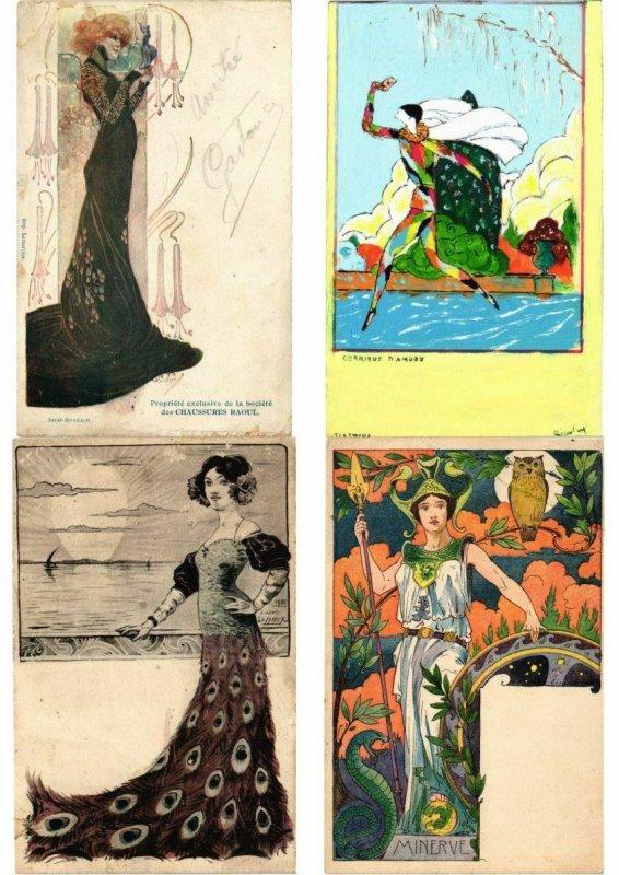 ART NOUVEAU & ART DECO 29 CPA ALL POOR CONDITION (L2714)