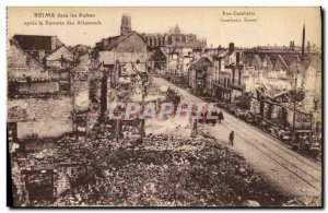 Old Postcard Reims In the ruins after the retreat of German Militaria