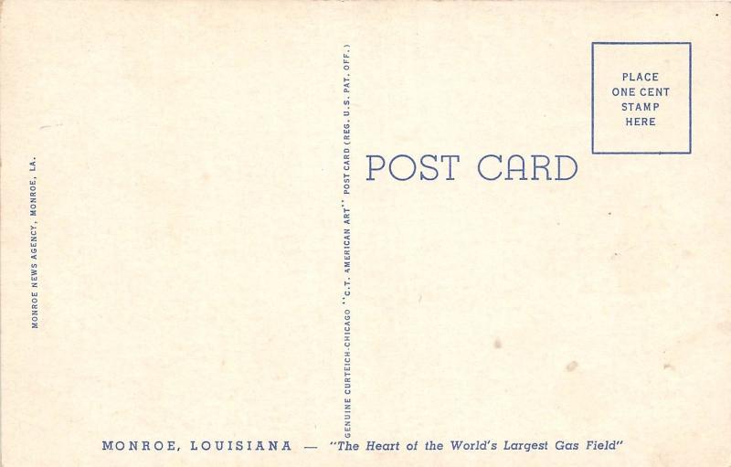 MONROE LOUISIANA FIRST PRESBYTERIAN CHURCH POSTCARD 1930s  LARGEST GAS FIELD