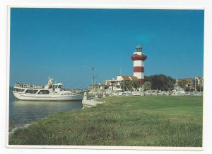 SC HIlton Head Cruise Boat Vagabond Harbour Town Light Vintage 4X6 Postcard
