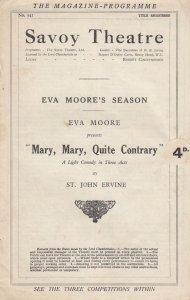 Mary Mary Quite Contrary Eva Moore Suffragette Rare Savoy Comedy Theatre Prog...