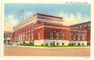 Post Office, Lewiston, Maine, ME Linen