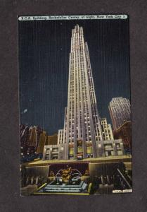 NY RCA Building Bldg Rockefeller Center Night View New York City NYC Postcard