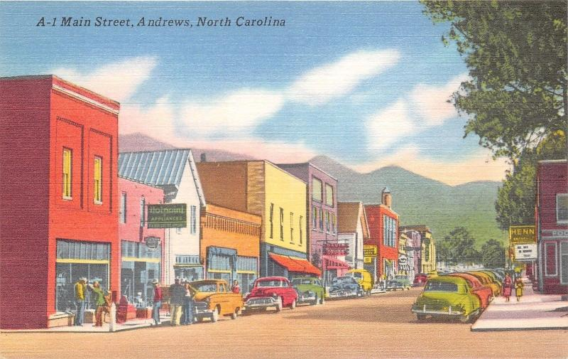 Andrews North Carolina~Main Street~Davis Drugs~Holpaint Appliances~Henn~1940s PC