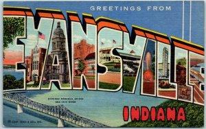 Vintage EVANSVILLE, Indiana Large Letter Postcard Curteich Linen 5B-H1068 c1940s
