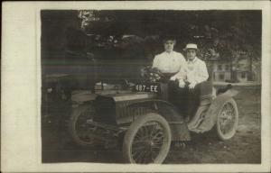 Early Car Auto Automobile French Visible License Plate Real Photo Postcard