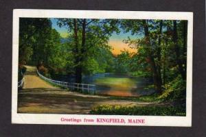 MAINE KINGFIELD ME Greetings from Postcard PC