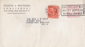 Harper & Brothers Publishers 1955 New York Cover Envelope