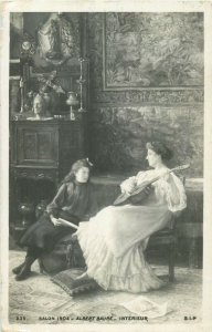 Salon 1904 by Avy - Albert Baure Interieur music guitar vintage art postcard