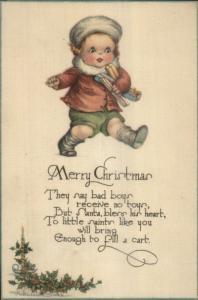 Christmas - Cute Little Boy w/ Gifts - Poem c1915 Postcard