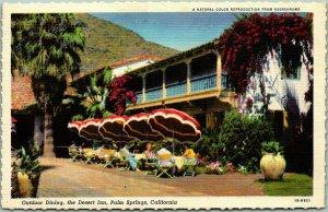 Palm Springs, California Postcard Outdoor Dining, THE DESERT INN Deckled Linen