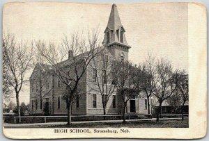 Stromsburg, Nebraska Postcard HIGH SCHOOL Building / Street View c1910s UNUSED