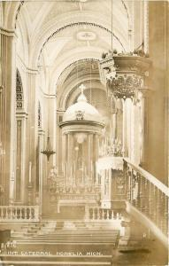 #716. Interior. Cathedral, (Catedral) Morelia, Mich Mexico Real Photo Postcard