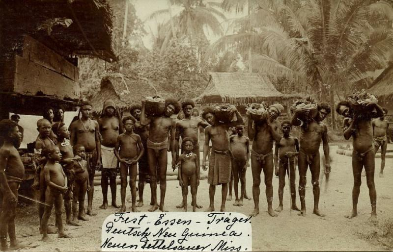 german new guinea, Group Native Papuas with Feast Food (1910s) RPPC New Mission