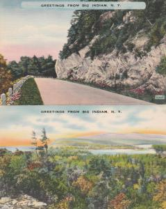 (2 cards) Greetings from Big Indian NY, New York - Linen