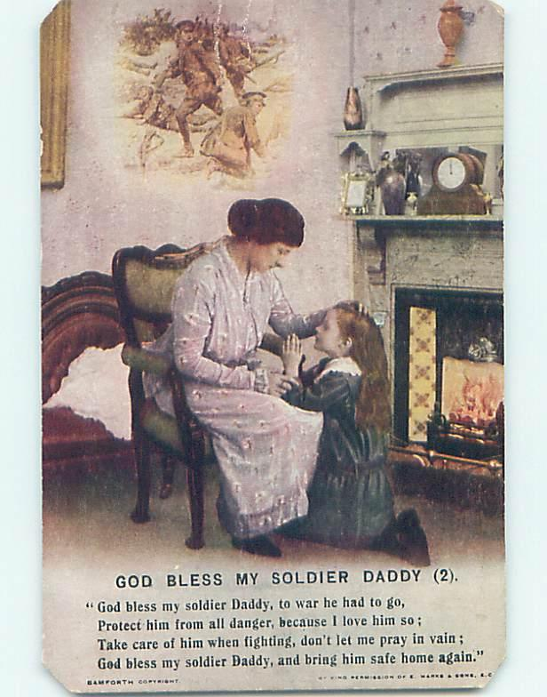 Unused Bamforth DAMAGED - GIRL PRAYS TO PROTECT WWI SOLDIER DADDY o8068