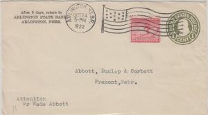 ARLINGTON, NE - ARLINGTON STATE BANK - partial COVER, dated 1932 + FLAG CANCEL