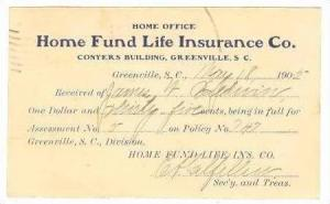 Home Fund Life Insurance Co,Greenville,SC,PU1905