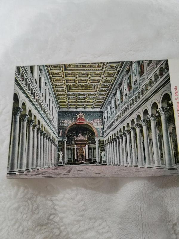 Antique Postcard from Italy, Roma - Interno Chiesa S. Paolo