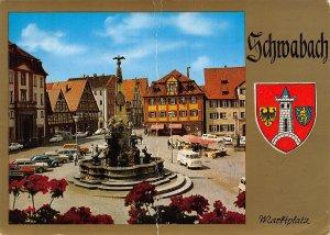 Schwabach Marktplatz Fountain Vintage Cars Postcard