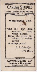 Cigarette Cards Cavanders CAMERA STUDIES Real Photos No 38 Watermouth Cave