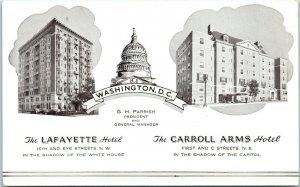 1910s Lafayette Hotel and Carroll Arms Hotel Washington D.C. Postcard