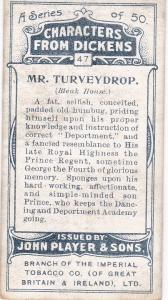 Cigarette Cards Players Characters From Dickens No 47 Mr. Turveydrop