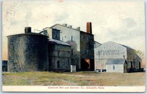 Ellsworth, Kansas Postcard Ellsworth MILL & ELEVATOR CO w/ 1908 RPO Cancel