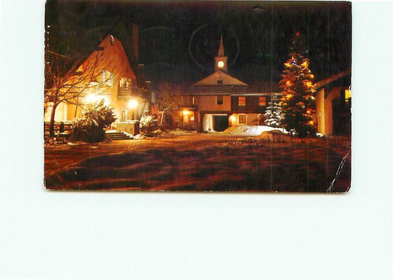Postcard  Winter Night Challenger Inn Village Square Sun Valley Idaho  # 4234A