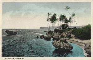 barbados, BATHSHEBA, Sea Shore, Palm Trees (1940s) Postcard