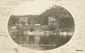 1909 Bark Frame like Orrington Maine Hines Pond RPPC real photo postcard 7346