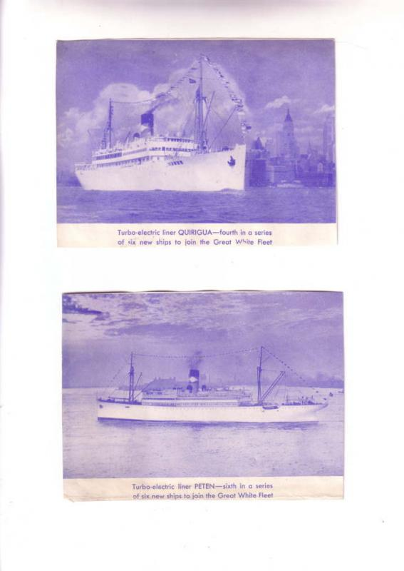 Great White Fleet Liners, Peten, Quirigua,  Two Pictures on the Back on Ship ...