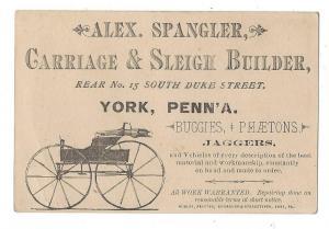 Victorian Trade Card Alex Spangler Carriage Sleigh Builder