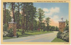 Entrance to the Infantry School - Fort Benning GA, Georgia - Linen