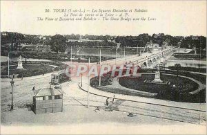 Postcard Old Tours (I and L) The Descarles Squares Rabelais and Tramway Stone...